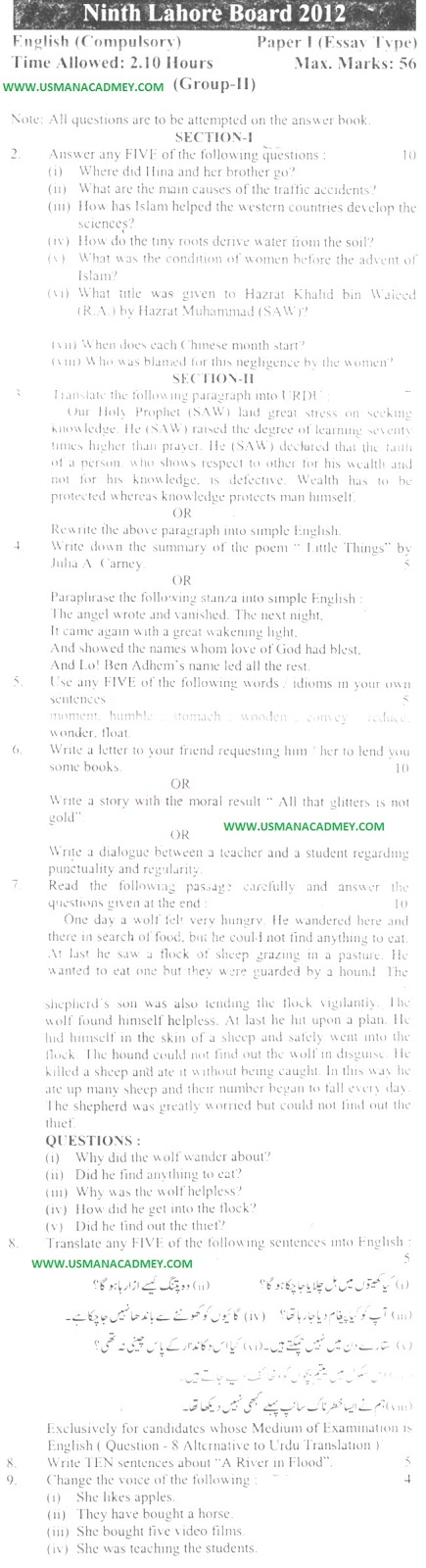10th Class English Guess Paper 2019 Education In Pakistan Past