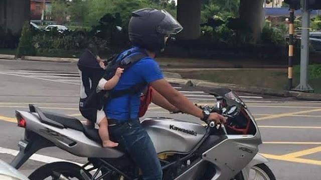 Dihujat Karena Cara Membawa Anaknya Saat Bermotor, Jawaban Pria Ini Sungguh Mengharukan