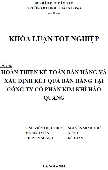 Hoàn thiện kế toán bán hàng và xác định kết quả bán hàng tại Công ty Cổ phần Kim khí Hào Quang
