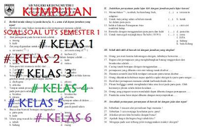 Dalam kalender pendidikan tahun pelajaran  Soal UTS SD Semester 1 Kelas 1, 2, 3, 4, 5, dan 6