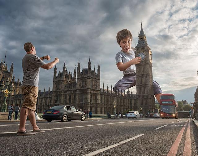 Papá pone a su hijo en escenarios epicos gracias a la fotomanipulación
