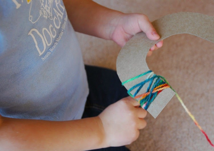 Rainbow Yarn Wrapping- Colorful St. Patrick's Day Craft for Kids