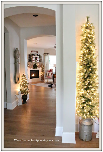 French Country Farmhouse Christmas Mantel-Holiday Home-Christmas Trees-From My Front Porch To Yours