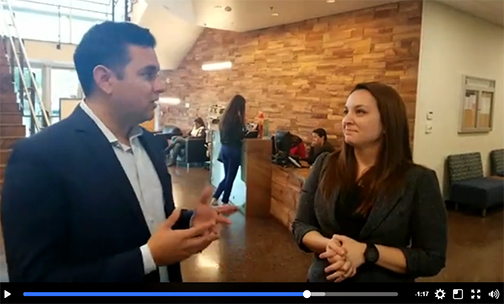 snapshot of Facebook video featuring Victor Contreras and Andrea Vazquez at reception area of Rio Salado Downtown