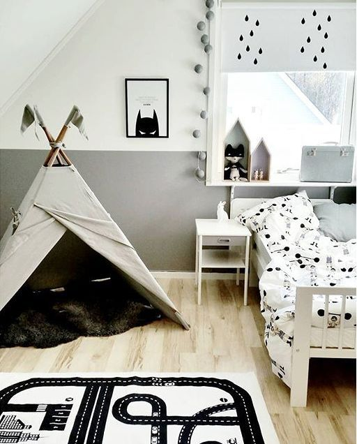 Inspirational kids room in monochrome - tepee