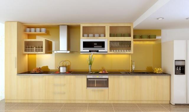 Tủ bếp gỗ Laminate cho nhà chung cư