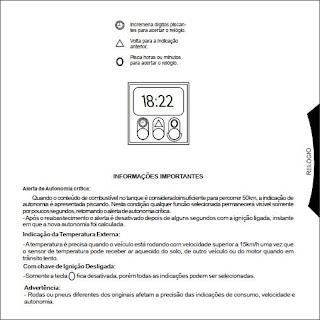 Manual do computador de bordo do Monza
