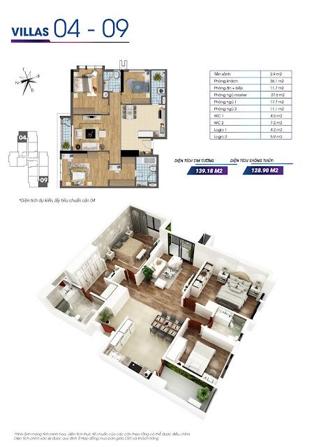 Mặt bằng căn hộ số 04 và căn hộ số 09 tòa Sapphire 2