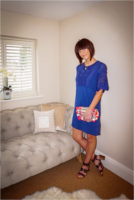My Midlife Fashion, Boden Heidi Tunic Dress, Accessorize Tassel Clutch, Topshop Venus stud sandals