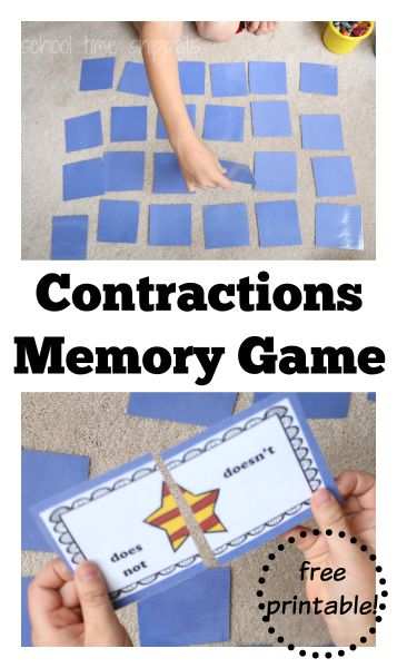 contractions matching printable game