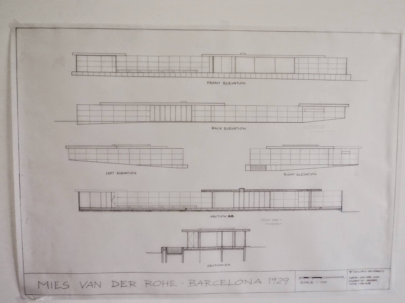 Floor Front Elevation Training : Architecture barcelona pavilion technical drawing