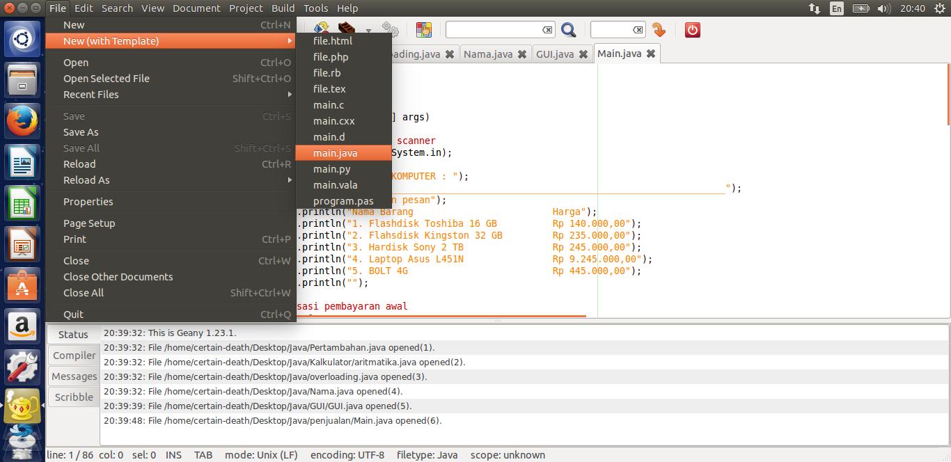geany templates - scanner pada java ankmon