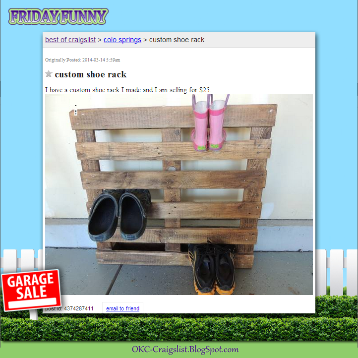 FUNNY CRAIGSLIST ADS: Not-So-Custom Custom Shoe Rack