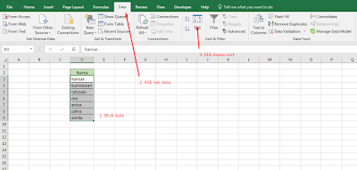 sorting data di excel