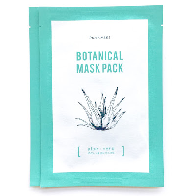 bonvivant botanical mask pack aloe from memebox that is made with aloe fibre. It's 100% natural fibre sheet mask.