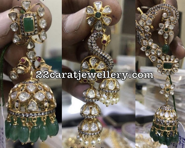 Uncut Diamond Latest Ear Cuff Jhumkas