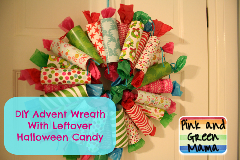 diy advent wreath style 2 with scrapbook paper and leftover halloween candy - Halloween Candy Wreath