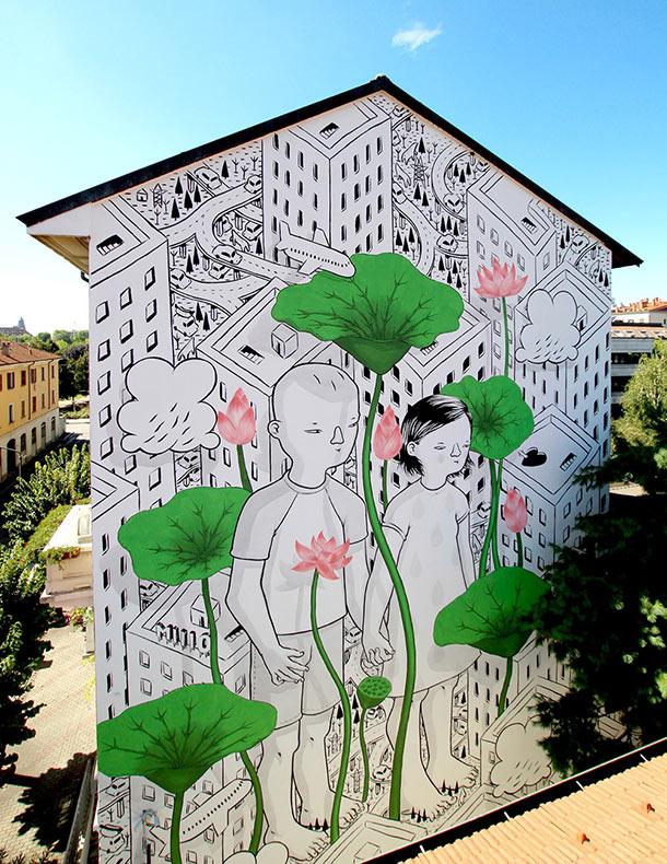 Afectuosos murales pintados en las calles de Italia y más allá por Millo