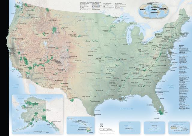 Carte des Parcs Nationaux des Etats-Unis
