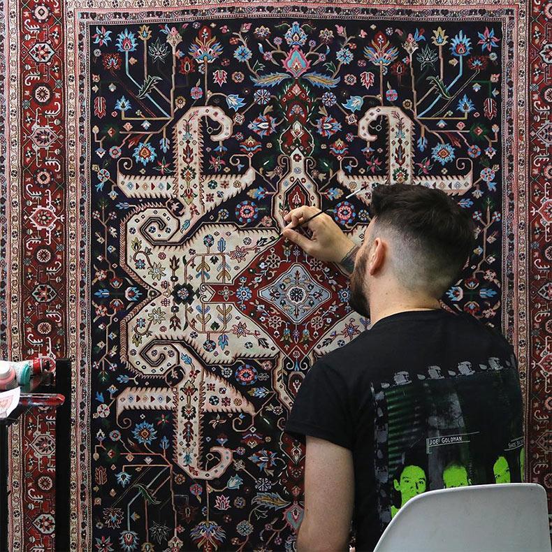 Elaboradas alfombras persas pintados a mano de Jason Seife
