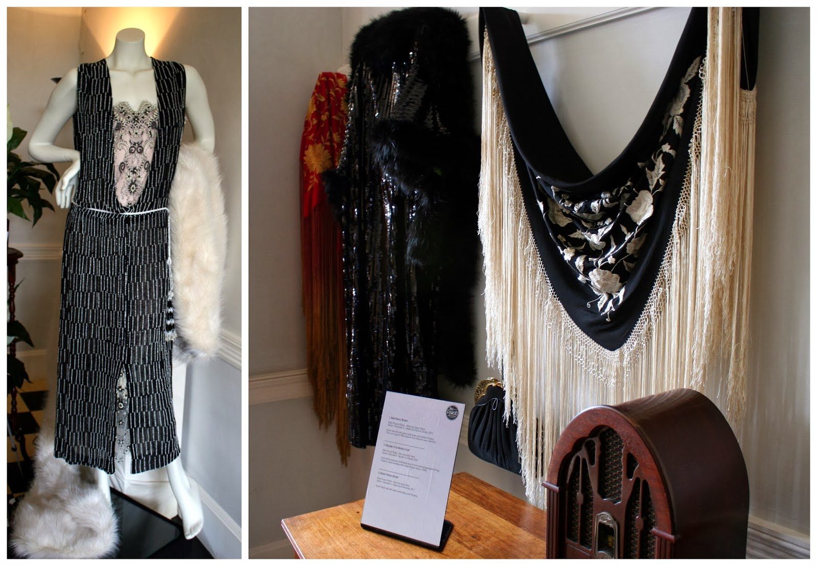 91a9286fd02257 In the entrance to the house we were greeted with these stunning shawl as  well as this beautiful ensemble. The white (faux) fur wrap was worn by  Phryne in ...