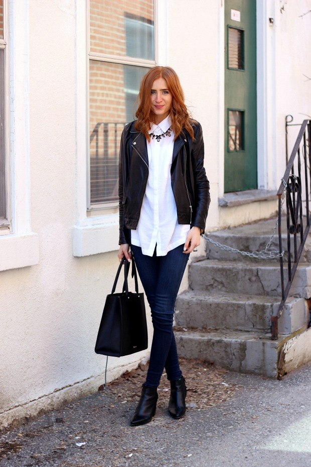 Pastels & Pastries Closet Staples- white blouse, leather jacket, skinny jeans, booties, structured bag