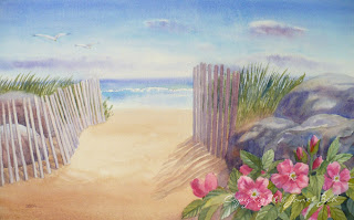 'East Beach' custom watercolor seascape painting