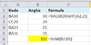 Fungsi VALUE konversi text menjadi angka