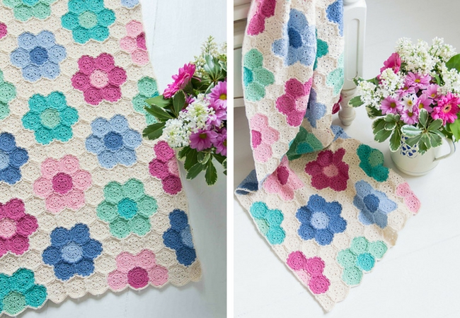 Crochet hexagon blanket Puur Haken (photos Crejjtion) | Happy in Red