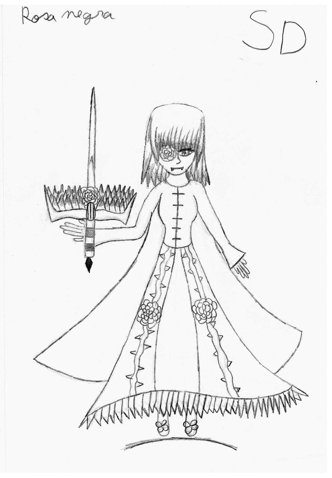 Sofia Desenho Rosa Negra Com Espada