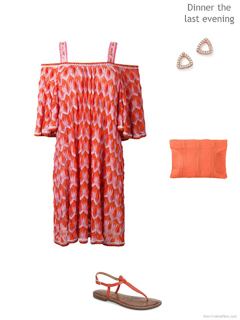 off-the shoulder dress in orange and pink print, with accessories