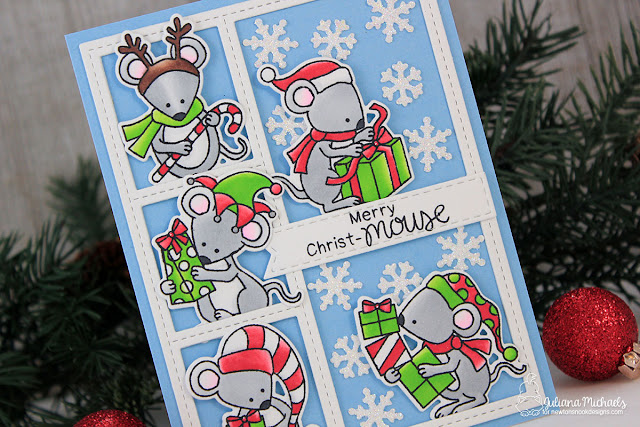 Merry Christmouse Christmas Card by Juliana Michaels featuring Naughty or Mice Stamp Set by Newton's Nook Designs