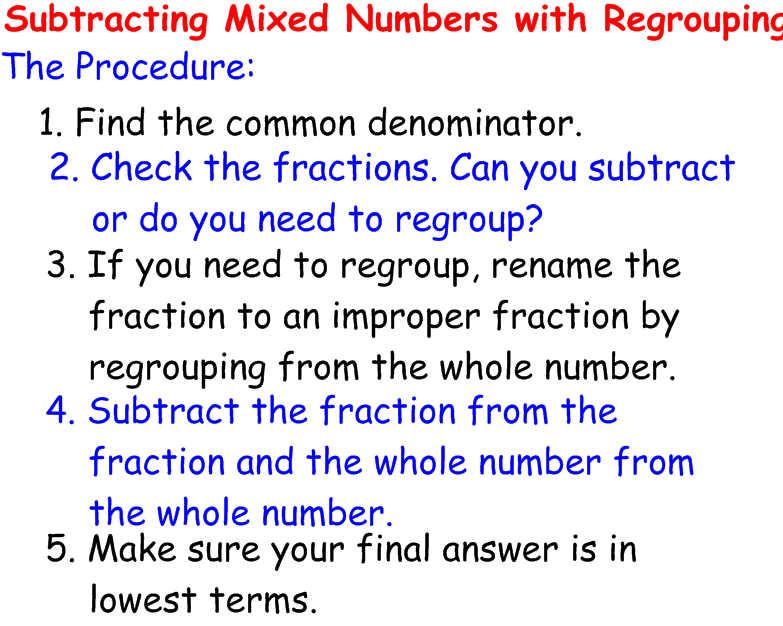 Addition And Subtraction Of Mixed Numbers Addition And