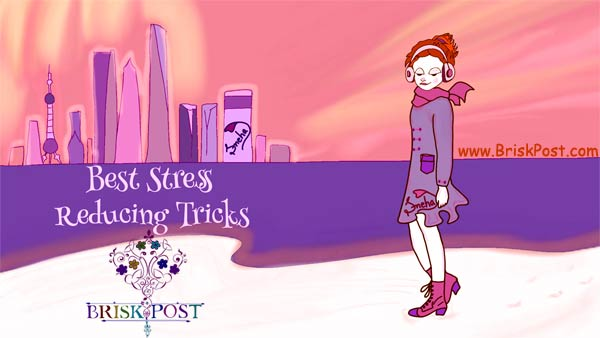Best Stress Reducing Tricks (music listening anime girl illustration)