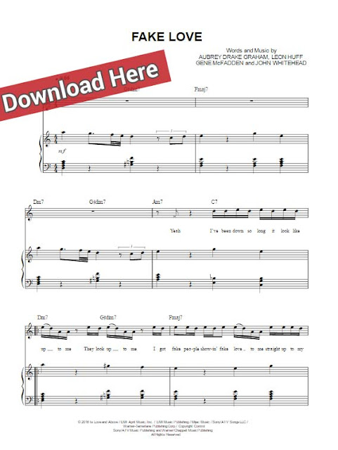 drake, fake love, sheet music, piano notes, chords, download, pdf, klavier noten, tutorial, voice, vocals