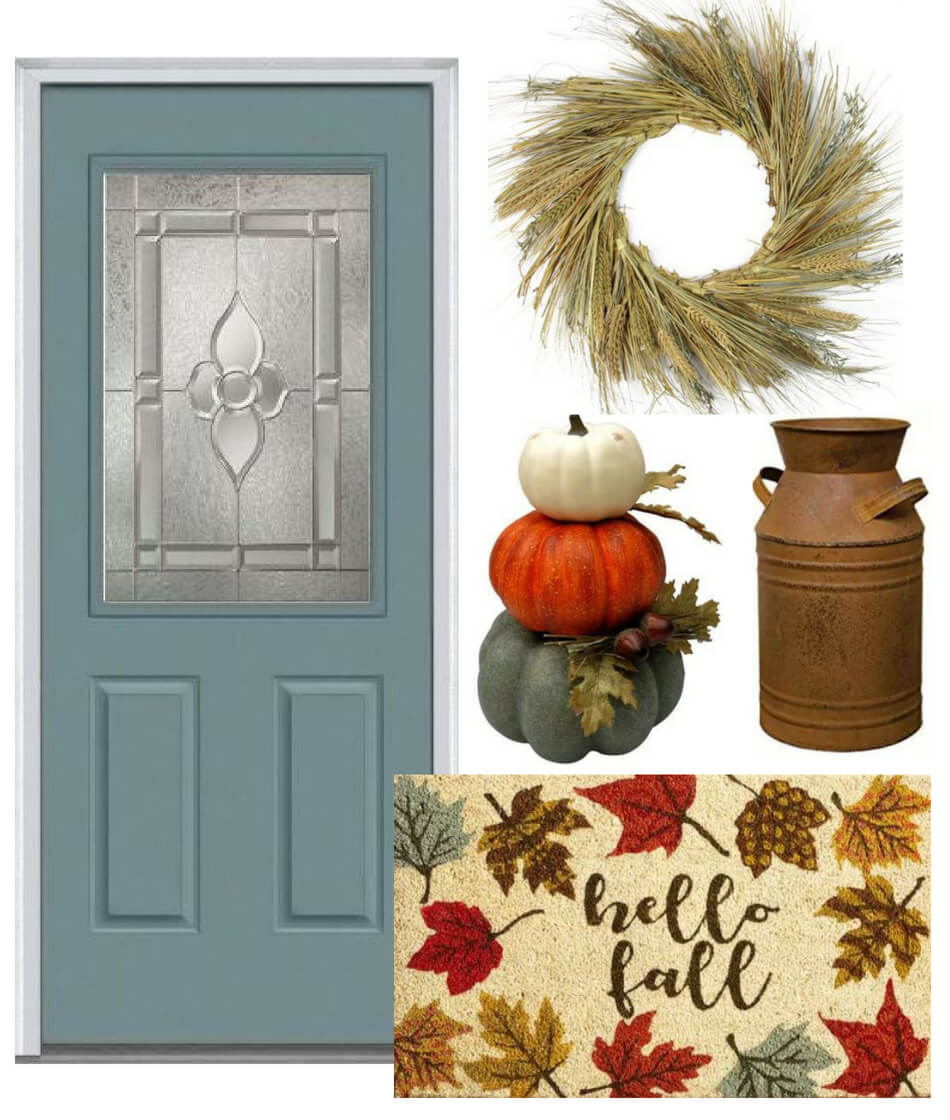 fall decor ideas for blue front door