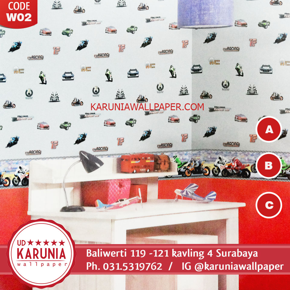 wallpaper anak motif mobil surabaya