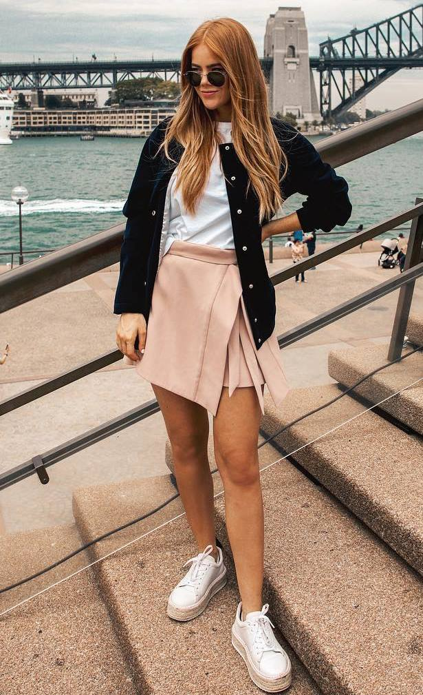 casual style obsession / blush skirt + platform espadrilles + bomber + t-shirt