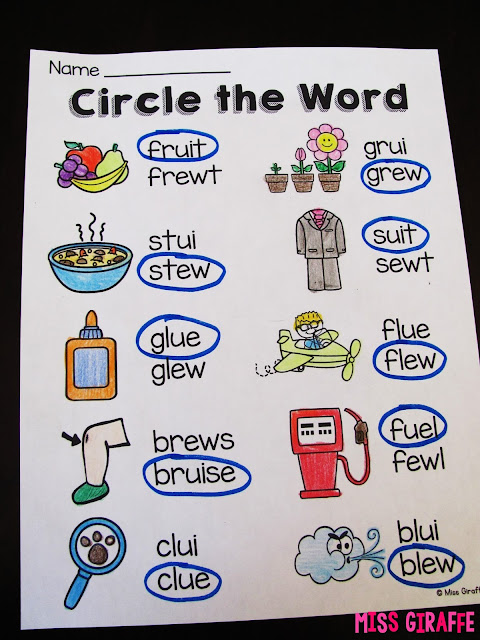 Circle the correct spelling of the long u words to practice the ew ue ui sounds... love these worksheets for phonics
