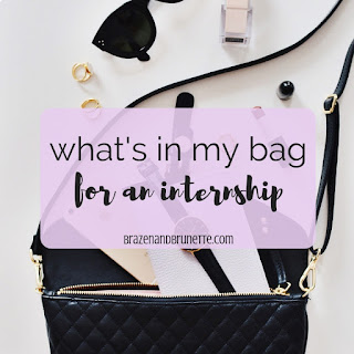 What's in my purse for my internship plus how I keep it organized! What's in my bag. Work bag organization. Organized work bag. Work bag essentials. Internship work bag. law school blog. law student blogger | brazenandbrunette.com
