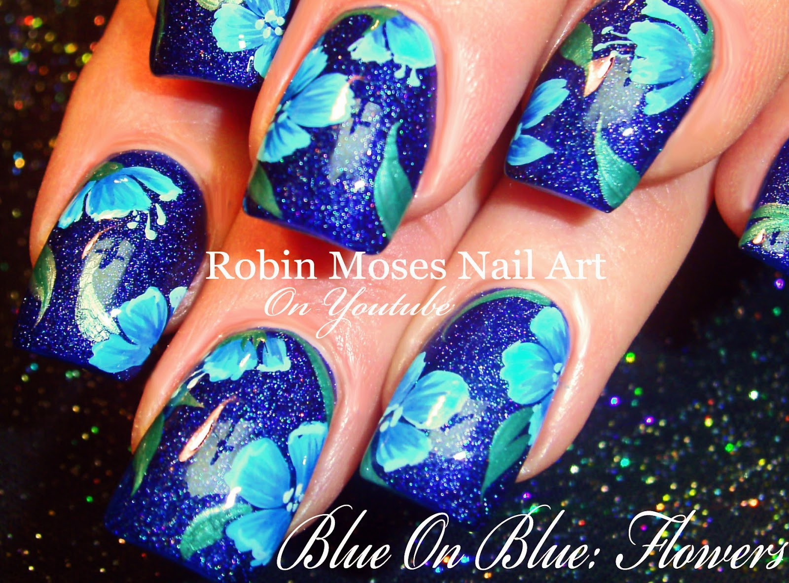 Nail Art By Robin Moses Blue Polish With Blue Flowers Blue Flower