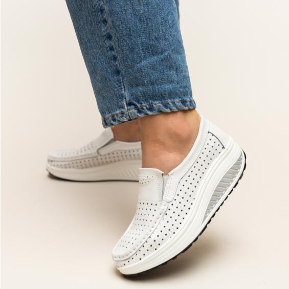 Pantofi casual de femei albi din piele naturala cu talpa ortopedica
