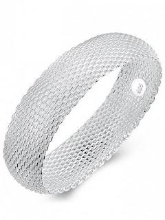 pulsera de brazalete de malla de plata