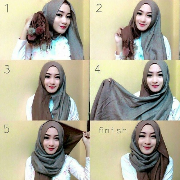 tutorial hijab modern simple