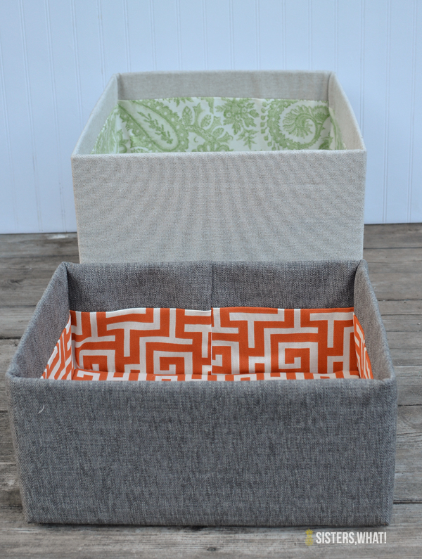 Easy DIY fabric covered boxes out of cardboard boxes