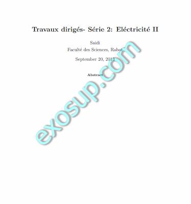 Travaux Dirigés Série Electricité II Corrigé SMP 3 FSR