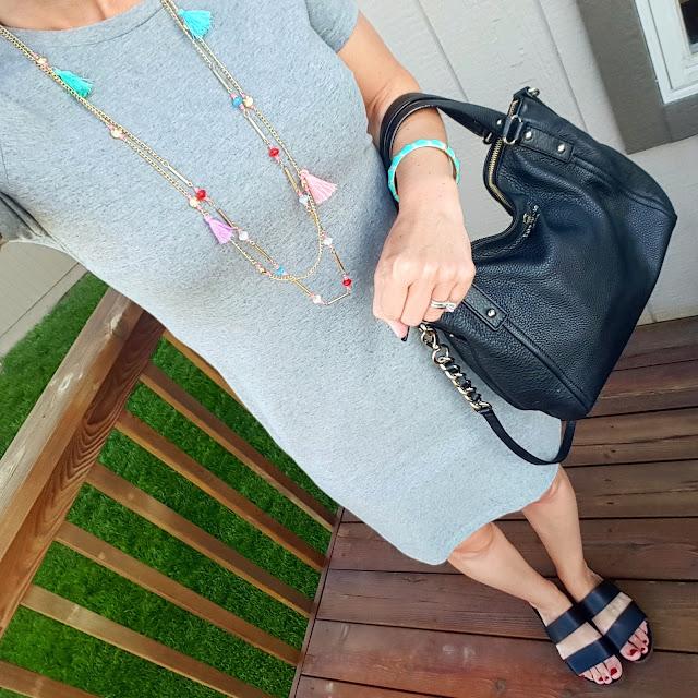 Old Navy T-shirt Dress // Blowfish Supa Sandals - on sale for $30 (reg $50)! alternate link // Target Tassel Necklace // Kate Spade Pine Street Kori Handbag - 50% off!