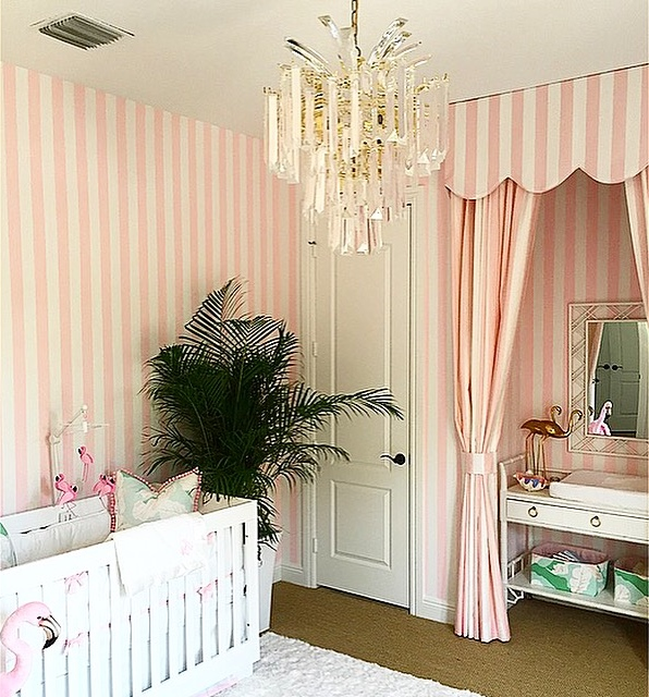 a glamorous pink and green nursery inspired by the beverly hills