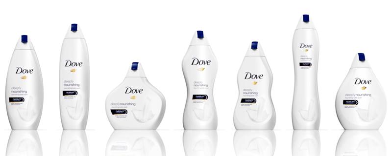 Siluetas de mujer convertidas en packaging de Dove