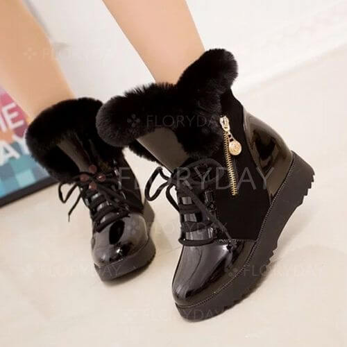 Lace-up Ankle Boots Wedge Heel Shoes